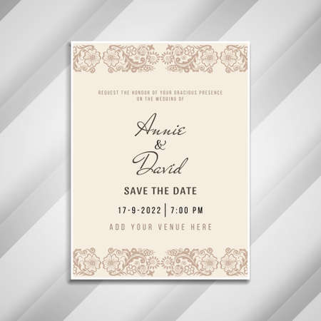 Abstract artistic wedding invitation card template