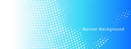 Abstract blue halftone banner template vector