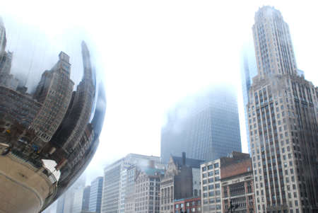 Reflection of downtown Chicago on Bean photo