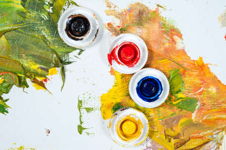 Oil paints, art workshop, the concept of creativity and art therapy. Stock Photo