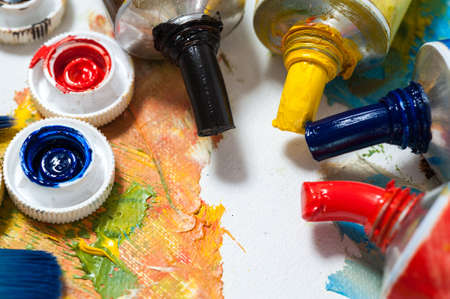 oil paints: Oil paints, art workshop, the concept of creativity and art therapy. Stock Photo