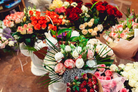 natue: Lot of artificial flowers in colorful composition. wedding gifts