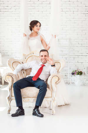 bride in a chair