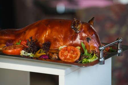 野菜と豚の丸焼き 写真素材