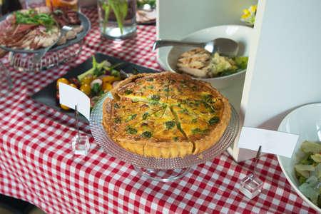 mediterranean culture: Traditional greek spinach pie, spanakopita, with goat cheese. Brunch in a restaurant
