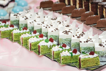 Cute candy bar with various pastry and cakes. Wedding sweets