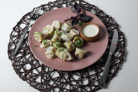 meat dumplings, homemade traditional Ukrainian dish pelmeni with sour cream Foto de archivo