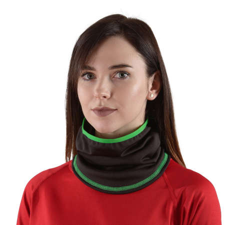 pretty brunette with long hair in a red shirt with a black balaclava with green edging