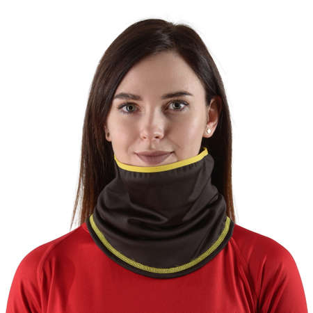 pretty brunette with long hair in a red shirt with a black balaclava with yellow edging