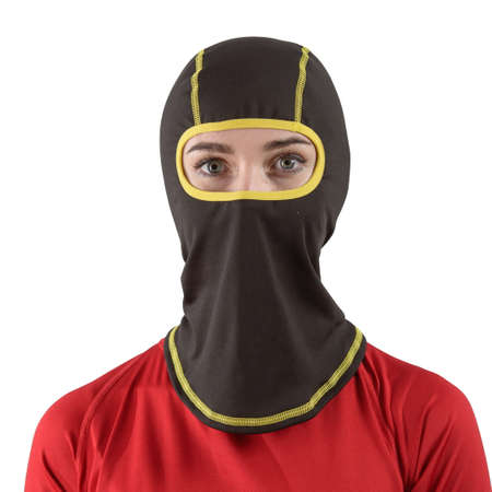 pretty brunette with long hair in a red shirt with a black balaclava yellow edging
