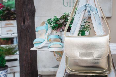 luxury fashion woman accessories, blue shoes and handbag, little evening purse, elegant style, sandals footwear