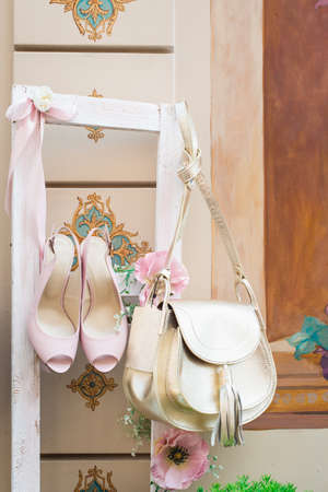 luxury fashion woman accessories, pink shoes and handbag, little evening purse, elegant style, sandals footwear