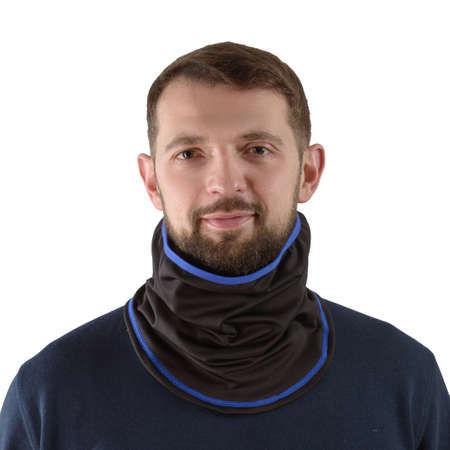 brunette man in a blue shirt with a black balaclava with dark blue edging