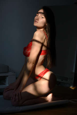 Young brunette woman in red lingerie posing in a sunshine