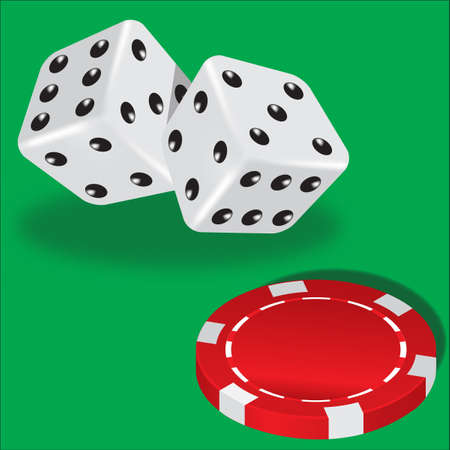 Two dice and red poker chips on green background Vector