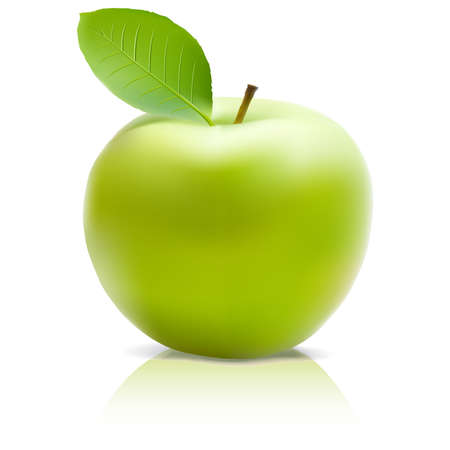 green apple: Manzana verde con hoja verde