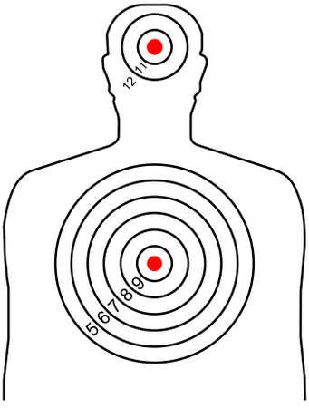 El objetivo de tiro en una silueta de un hombre