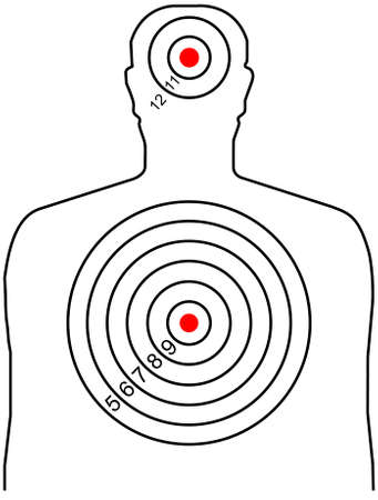 gun shot: The target for shooting at a silhouette of a man