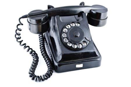 dialplate: Black old phone isolated on white background Stock Photo