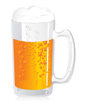 barley hop: Detailed illustration of a glass of beer