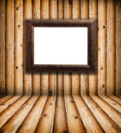 Vintage Frame in Empty Wooden Room photo