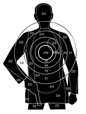 El objetivo de tiro en una silueta de un hombre con pistola Ilustración de vector