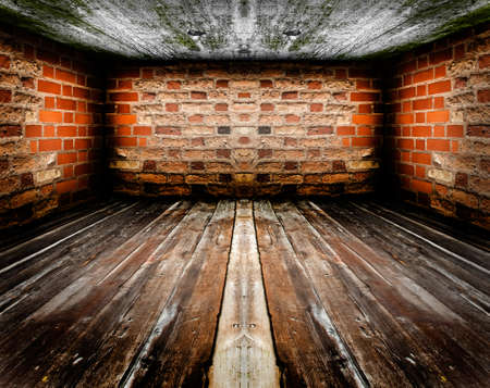 Empty vintage room interior, wooden floor, red brick wall and concrete ceiling. Stock Photo - 9192008