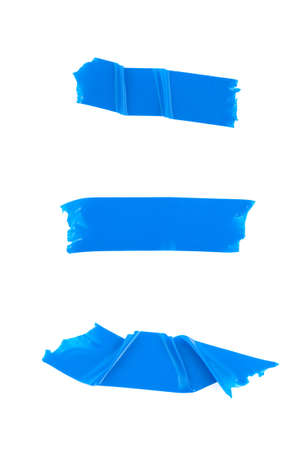 Strips of blue electrical tape. Isolated on white background. photo
