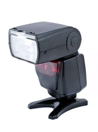 camera flash speedlight isolated on white background photo