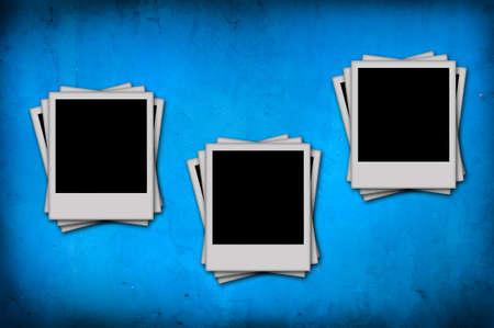 blank photo on grunge blue background photo