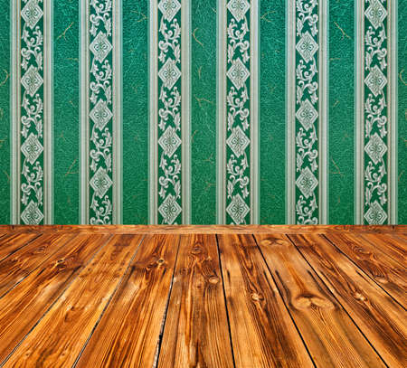 dark green vintage interior with wooden floor with artistic shadows added photo