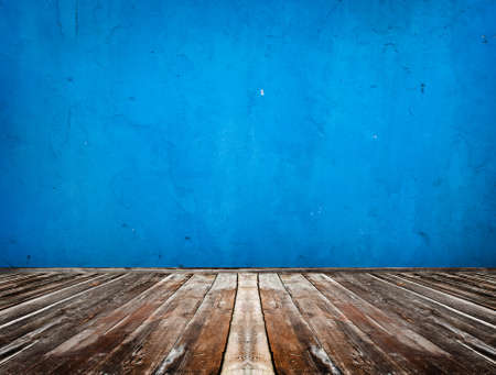 blue empty room with wooden floor Stock Photo - 9544709