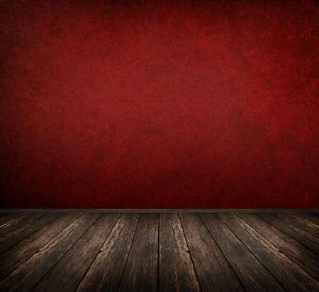 grunge interior: Espacio interior rojo con piso de madera