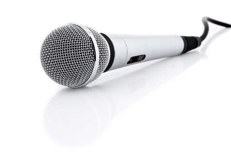 vocals: Silver microphone with black wire isolated on white