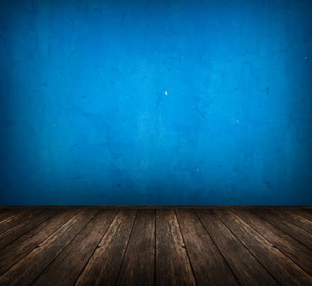 dark vintage blue room with wooden floor and artistic shadows added Stock Photo