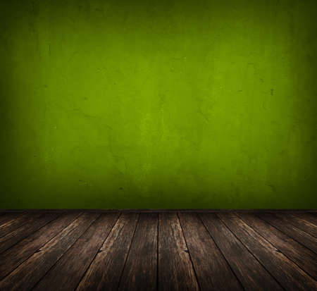 dark vintage green room with wooden floor and artistic shadows added photo