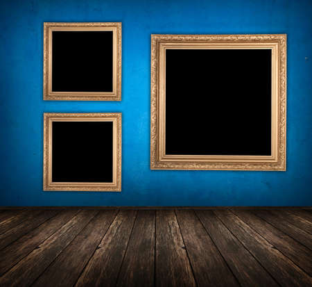 blue empty room with wooden floor and empty frame hanging on the wall Stock Photo - 9780353