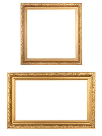 two golden vintage wooden frames isolated on white photo