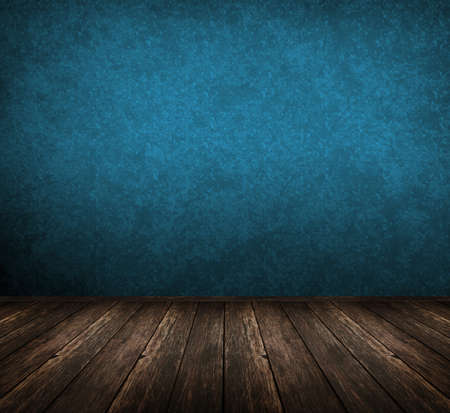 grunge interior: dark vintage blue room with wooden floor and artistic shadows added Stock Photo