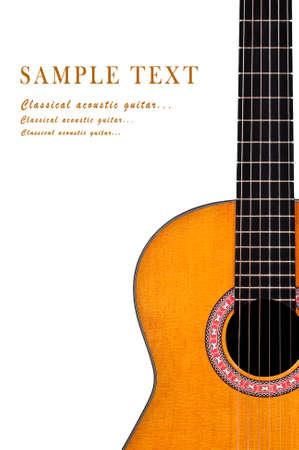 guitarra acustica: Guitarra ac�stica cl�sica aisladas sobre fondo blanco