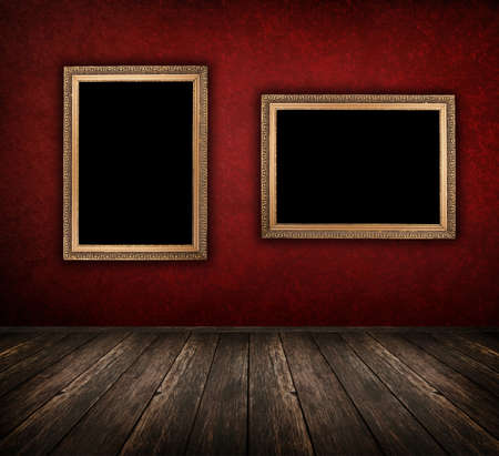 vintage red interior with empty frame hanging on the wall Stock Photo - 10427763