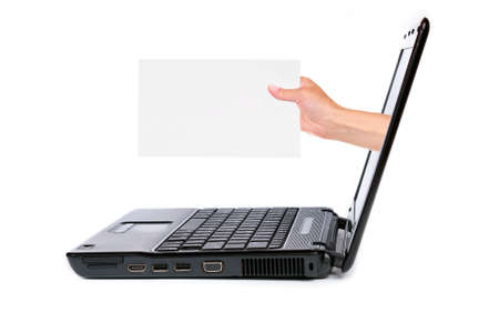 notebook computer and hand with card, isolated on white background photo
