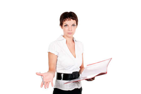 business woman in a suit with clipboard on a white background photo