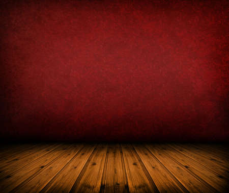 dark vintage red room with wooden floor and artistic shadows added