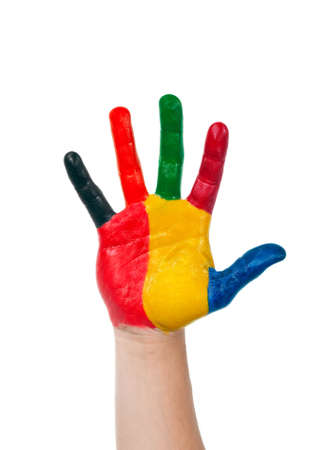 handprints: colored hand painted in colorful paints