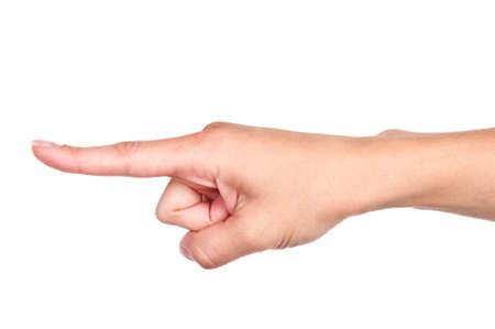 dedo indice: Señalando la mano aislada sobre fondo blanco