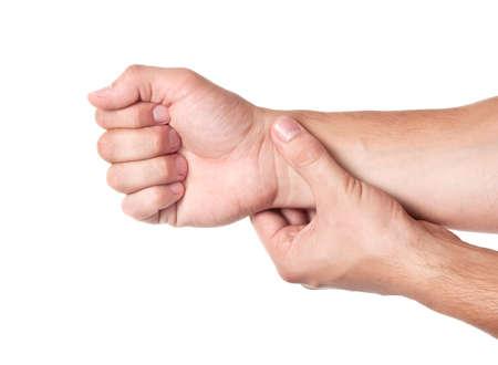 Medicine healthcare human hand measuring arm pulse photo