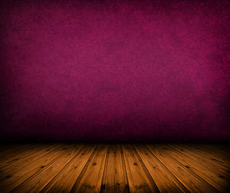 grunge background texture: dark vintage pink room with wooden floor and artistic shadows added Stock Photo