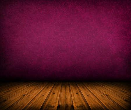 dark vintage pink room with wooden floor and artistic shadows added Standard-Bild