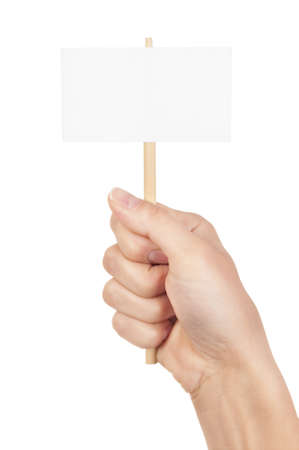 protest signs: Blank sign in fist isolated on white background